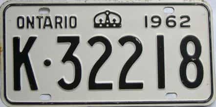 1962 Ontario (Single) license plate for sale