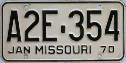 1970 Missouri license plate for sale