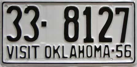 RESTORED 1956 Oklahoma license plate for sale