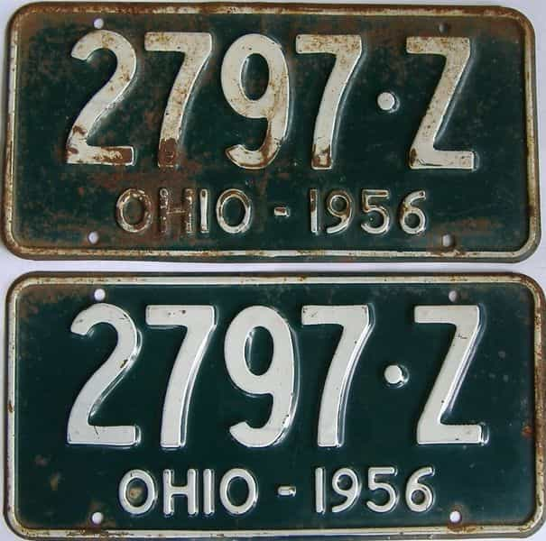 1956 Ohio  (Pair) license plate for sale