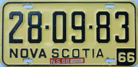1968 Nova Scotia  (Single) license plate for sale