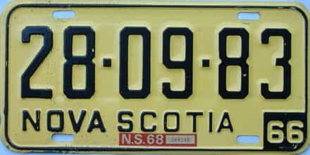 1968 Nova Scotia  (Single) license plate for sale