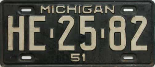 1951 Michigan license plate for sale