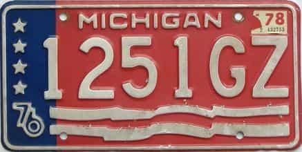 1978 Michigan  (Single) license plate for sale