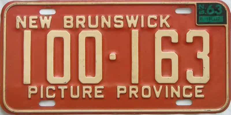 1963 New Brunswick  (Single) license plate for sale