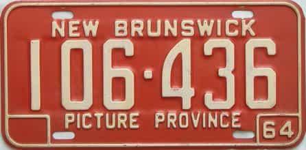 1964 New Brunswick license plate for sale