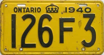 1940 Ontario  (Single) license plate for sale