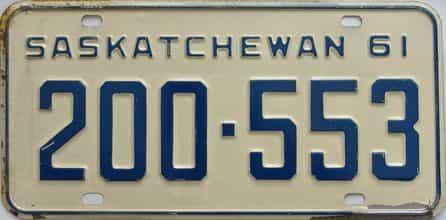 1961 Saskatchewan  (Single) license plate for sale