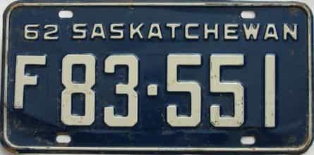 1962 Saskatchewan (Single) license plate for sale