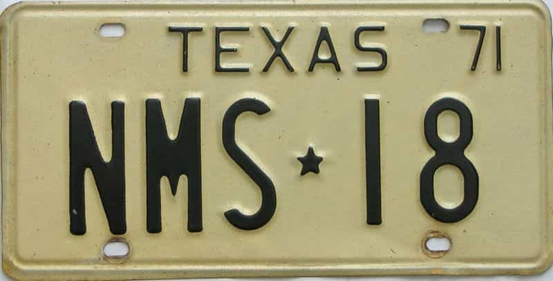 1971 Texas  (Single) license plate for sale