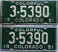 1951 Colorado (Pair) license plate for sale