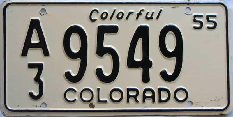 1955 Colorado  (Single) license plate for sale