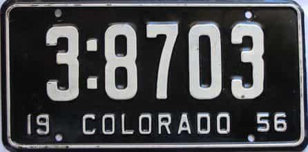 1956 Colorado  (Single) license plate for sale
