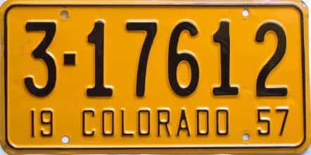 1957 Colorado  (Single) license plate for sale
