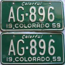 1959 Colorado  (Pair) license plate for sale