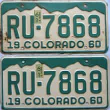 1961 Colorado (Pair) license plate for sale