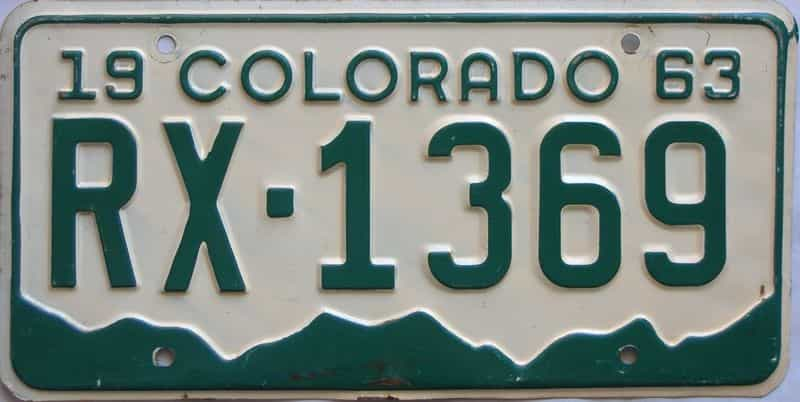 1963 Colorado  (Single) license plate for sale