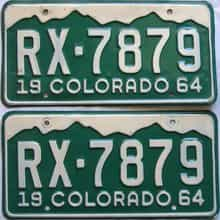 1964 Colorado  (Pair) license plate for sale