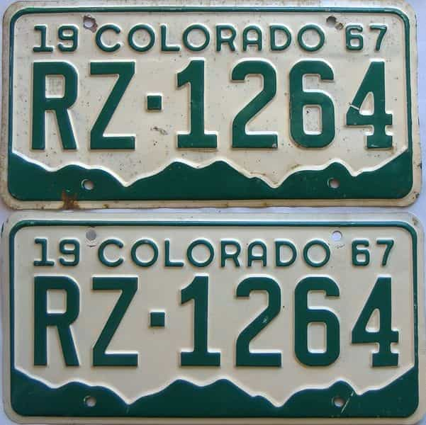 1967 Colorado  (Pair) license plate for sale