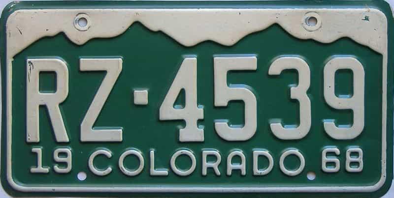 1968 Colorado  (Single) license plate for sale