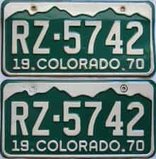 1970 Colorado  (Pair) license plate for sale