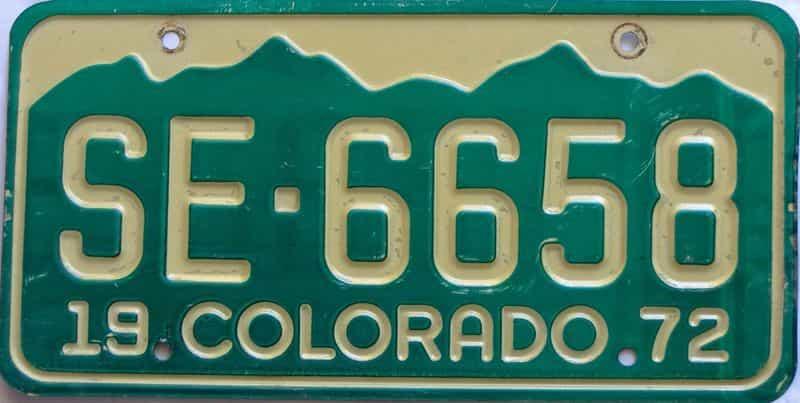 1972 Colorado  (Single) license plate for sale