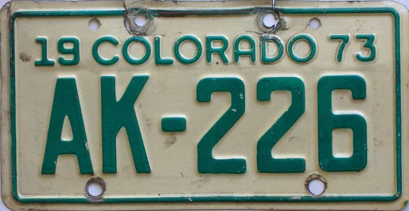 1973 Colorado  (Motorcycle) license plate for sale
