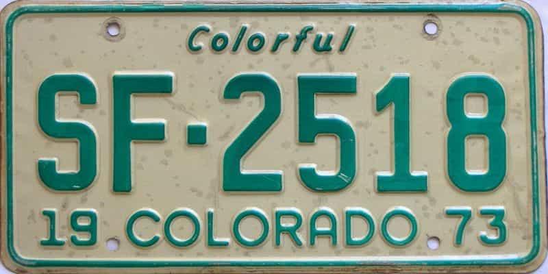 1973 Colorado  (Single) license plate for sale