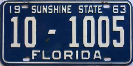 1963 Florida license plate for sale