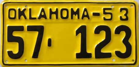 RESTORED 1953 Oklahoma license plate for sale