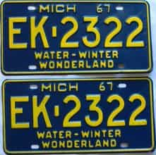 1967 Michigan  (Pair) license plate for sale