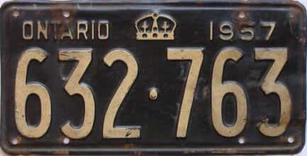 1957 Ontario  (Single) license plate for sale