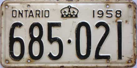 1958 Ontario  (Single) license plate for sale