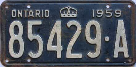 1959 Ontario (Single) license plate for sale