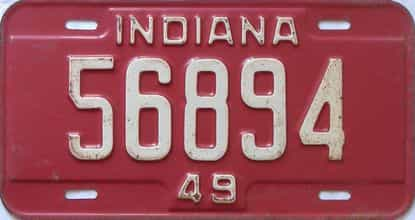 1949 Indiana license plate for sale