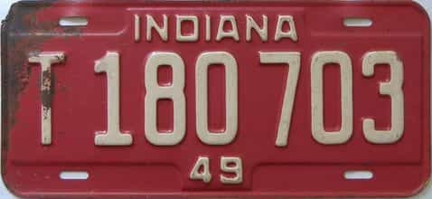 1949 Indiana  (Truck) license plate for sale