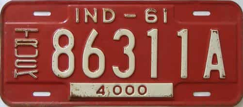 1961 Indiana  (Truck) license plate for sale