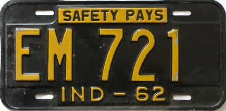 1962 Indiana license plate for sale