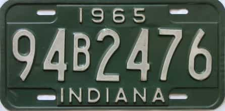 1965 Indiana license plate for sale