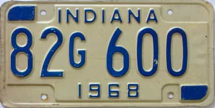 1968 Indiana license plate for sale