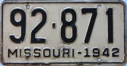 1942 Missouri license plate for sale