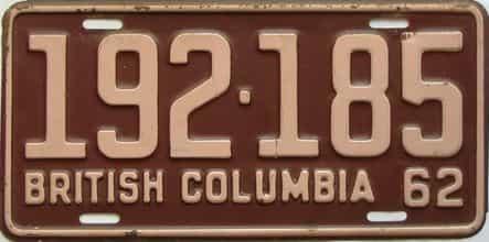 1962 British Columbia  (Single) license plate for sale