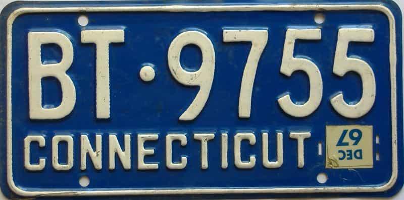 1967 Connecticut  (Single) license plate for sale