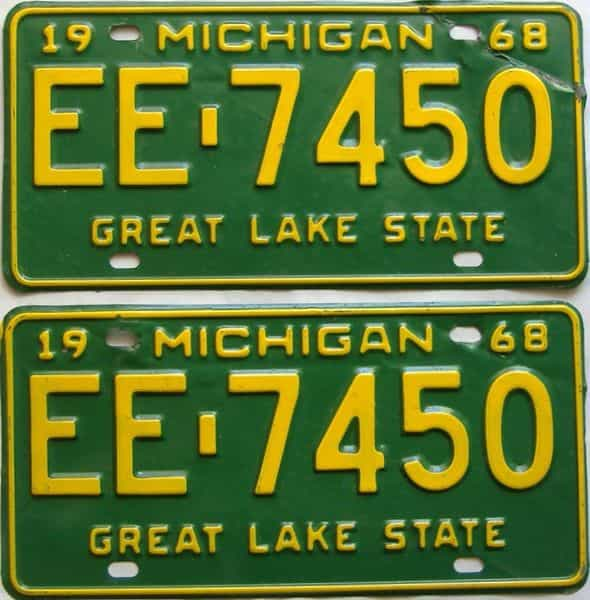 1968 Michigan  (Pair) license plate for sale