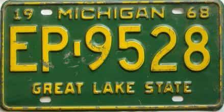 1968 Michigan  (Single) license plate for sale