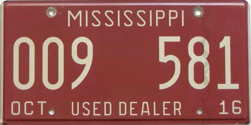 2016 Mississippi (Dealer) license plate for sale