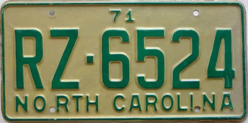 1971 North Carolina license plate for sale