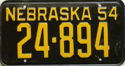 1954 Nebraska  (Single) license plate for sale