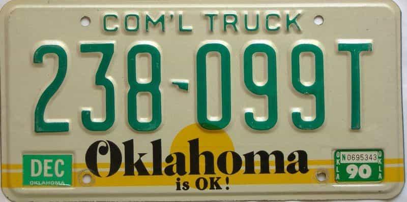 1990 Oklahoma  (Non Passenger) license plate for sale