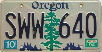 1994 Oregon  (Single) license plate for sale